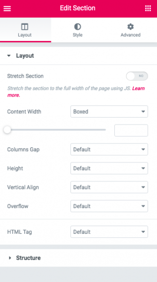 Elementor Tutorial - WordPress Section Settings 1